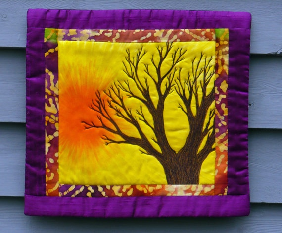 quilted wall hanging, small size, tree, purple, yellow