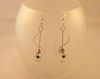Mauve Swarovski Wire Wrapped Silver Earrings