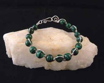 Malachite Silver Wire Wrapped Bracelet
