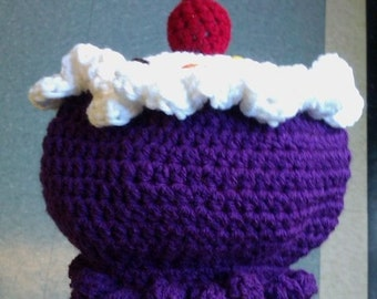 Crocheted Double Frosted Purple cupcake with sprinkles & cherry on top
