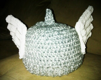 Crocheted Thor Beanie with 3D wings
