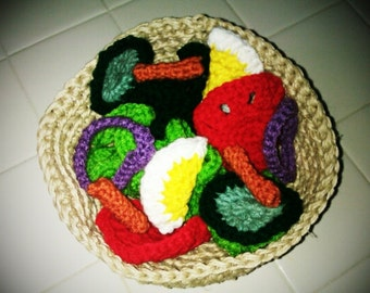 Crocheted Garden Salad with Hemp Bowl