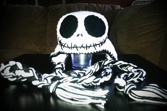 Crocheted Jack Skellington Beanie with earflaps & braided ties