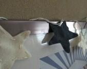 Felt Star String Lights/Nightlight (antique white and denim blue)