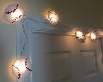 Nursery Night Light , Felt Baseball String Lights, Twinkle Lights, Sports Theme Baby Shower