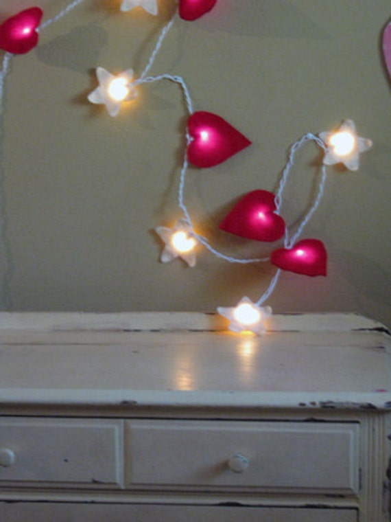 Felt Heart and Star String Night Lights (red and antique white)