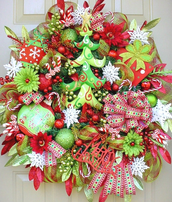 Deco Mesh Christmas Tree Wreath: O Christmas Tree-Christmas Holiday Wreath In Lime Greens And
