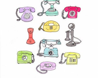 "Pen and ink Illustration of vintage telephones 8.5"" x 11"""