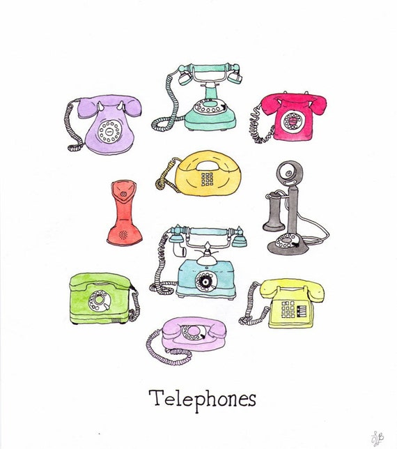 """Pen and ink Illustration of vintage telephones 8.5"""" x 11"""""""