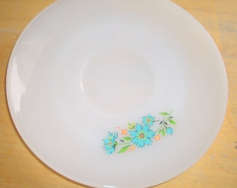 Milk Glass Saucer with Turquoise Flowers