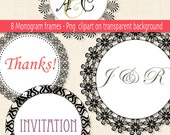 Digital Frame or label Clip Art - Wedding monogram - Frame clipart 6 inch wide - PNG clipart - INSTANT DOWNLOAD Pack 139