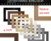 8 stitched leather digital frames Clipart - Digital Clip Art photo frames-  PNG  - Clip Art labels  INSTANT DOWNLOAD 092