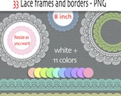 Lace digital clipart labels or frames and borders in white and pastel - 33 png files -Digital scrapbook frames INSTANT DOWNLOAD Pack 236
