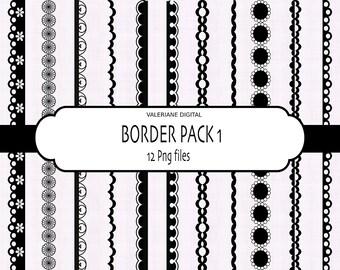 Diigital border, digital ribbon clip art, clip art border in black - INSTANT DOWNLOAD  325