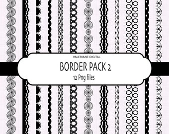 Clip art borders in black, digital border, clipart border - 12 png files - INSTANT DOWNLOAD Pack 031