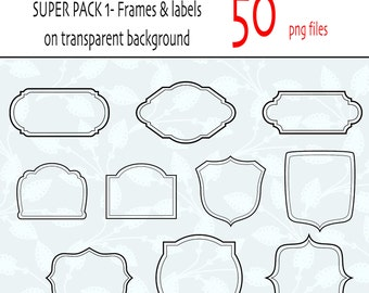 Classic labels and frames clip arts- 50 different designs - PNG files - INSTANT DOWNLOAD Pack 343