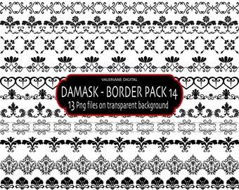 Digital border clip art in black damask, Digital clip art Ribbon - 13 PNG files -  345