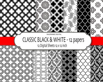 Damask digital paper, black and white scrapbook paper, damask digital backgrounds, Black and White printable paper - 125
