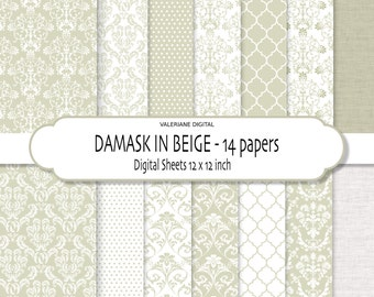 Damask digital paper, damask digital backgrounds, scrapbook papers in cream taupe, 14 printable digital papers -152