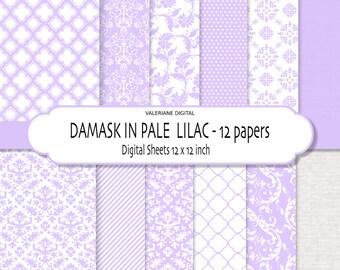 Damask digital paper, damask scrapbook paper, floral digital paper, digital backgrounds in lilac, lavender, purple - 160