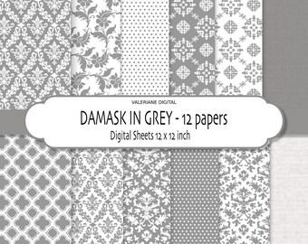 Grey Damask Digital Paper, Digital Scrapbook Printable Paper, grey digital paper, digital backgrounds - 166