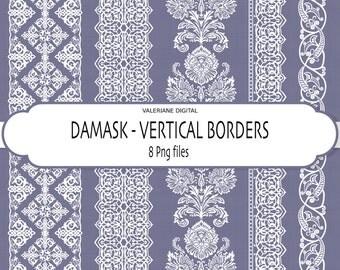 Digital border, damask border, border clip art, vertical border in white damask- INSTANT DOWNLOAD Pack 206