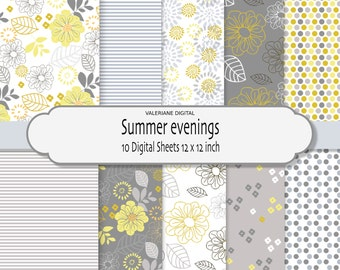 Florals dots and stripes in summer colors Digital scrapbook printable paper pack in yellow and grey 10 jpg files 12x12 INSTANT DOWNLOAD 210