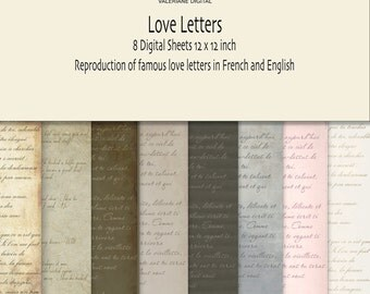 Vintage love letters Digital scrapbook printable paper pack or Background- INSTANT DOWNLOAD Pack 049