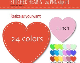 24 stitched digital hearts Clipart - Digital Clip Art scrapbooking-  PNG and JPG files - Clip Art Designs Instant Download 091