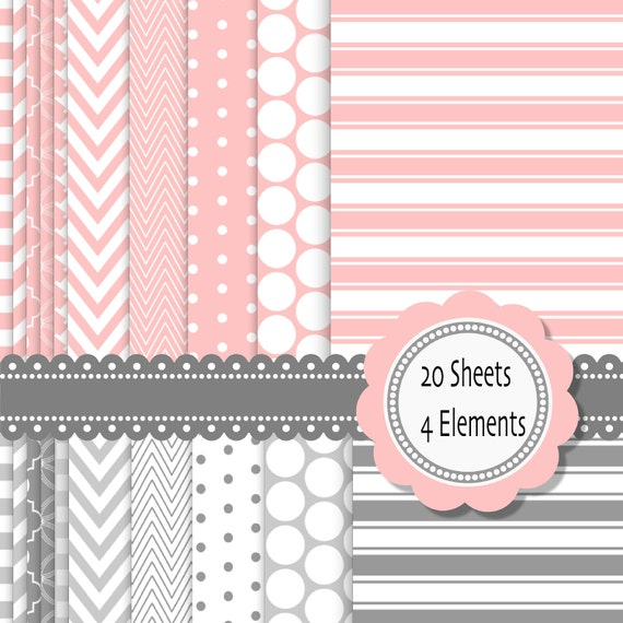 Classic Pink and grey Digital Scrapbook Paper and elements: INSTANT DOWNLOAD 20 sheets 2 frames and 2 borders - Pack 070