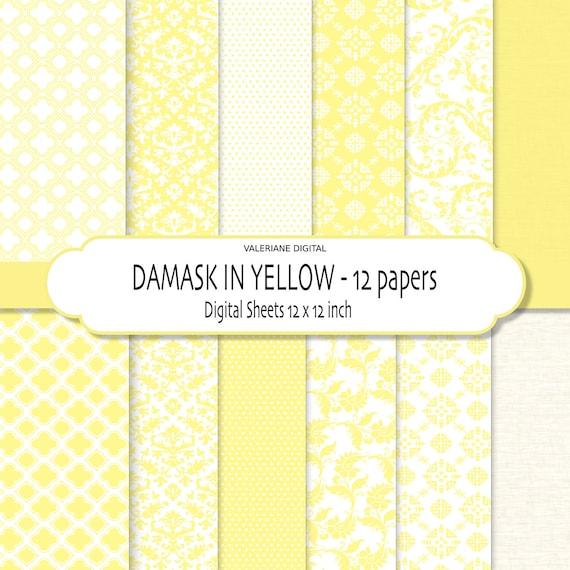 Damask digital paper, Yellow digital paper, damask scrapbook paper, Digital Scrapbook Paper - 164