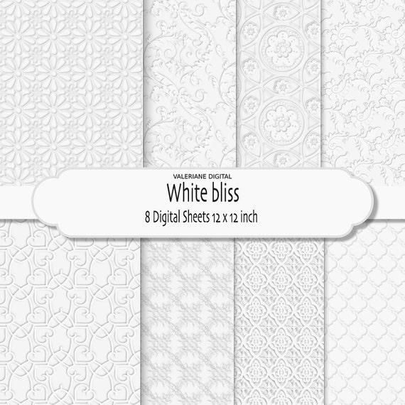 Wedding Digital Paper, White wedding damask digital paper, wedding digital backgrounds, white on white - INSTANT DOWNLOAD Pack 030