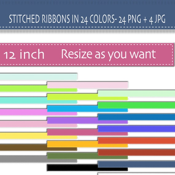 Digital Clipart Ribbon, Stitched digital ribbon Clipart, PNG and JPG files - Clip Art Designs  Instant Download 036