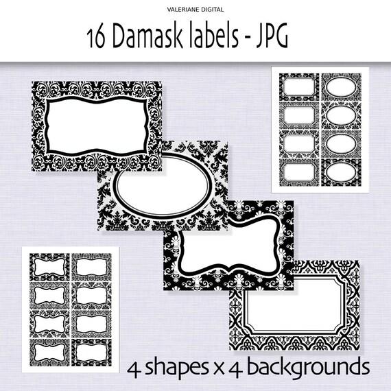 16 Damask printable labels, Digital labels, black and white labels and tags- Digital damask labels - INSTANT DOWNLOAD Pack 246