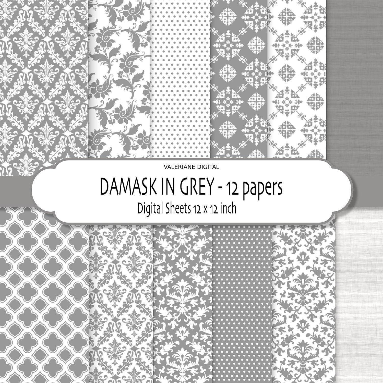 Scrapbook paper canada - Grey Damask Digital Paper Grey Wedding Papers Grey Scrapbook Papers Digital Scrapbook Printable Paper Pack 227