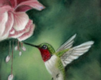 Springtime Hummingbird- a pastel drawing from artist Wendy Leedy's wildlife collection- fine art print, signed.