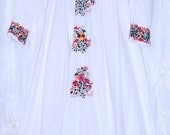 Long Sleeve Vintage Oaxacan Dress Romantic Bohemian Showers of Hand Embroidered Flowers on Sleeves