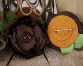 Handmade Flower Pin Accessory: Primrose Passion Brown with Black and Tan Beads