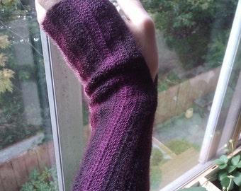 Striped superwash wool fingerless mitts.