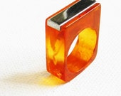 Vintage Genuine Bakelite Ring with Silver Bar Accent