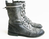 Vintage Distressed Gray Combat Boots UK Brand size US 9