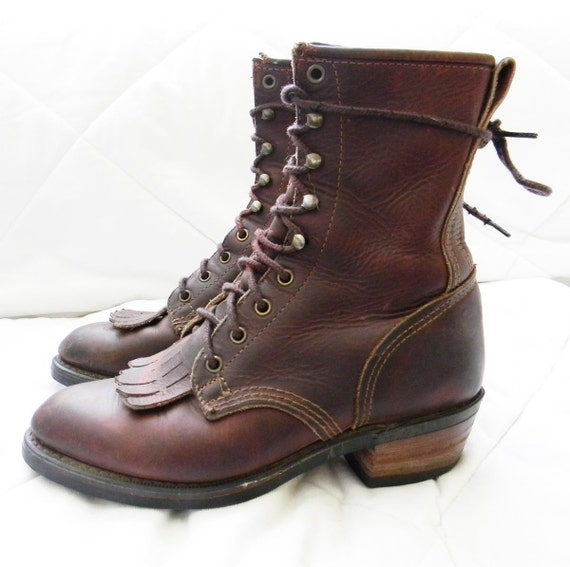 Leather Boots, packer boots, granny, lacer, roper 8