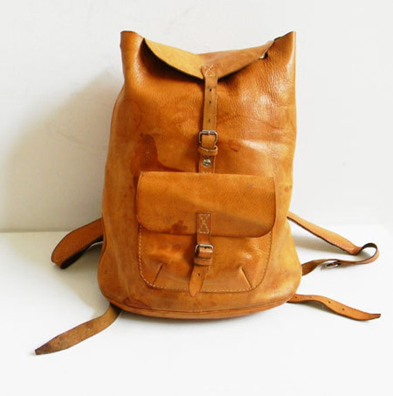 Vintage Leather Backpack Rucksack