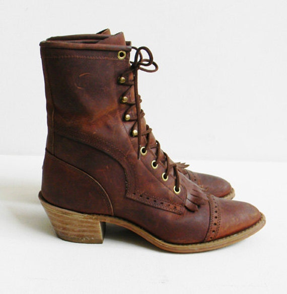 RESERVED Vintage Leather Lacer Boots  Size 7.5