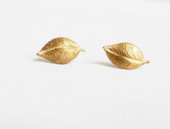 Vintage Gold Leaf Earrings