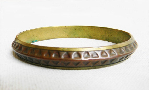 Vintage Brass and Copper Triangle Punch Tribal Bangle Bracelet