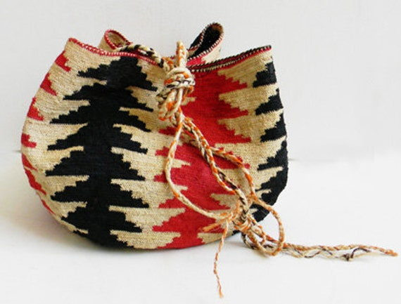 Huge Vintage Raffia Woven Tribal Bag