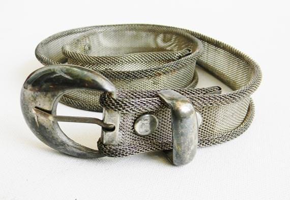 Vintage Mid Century Silver Mesh Chain Maille Belt