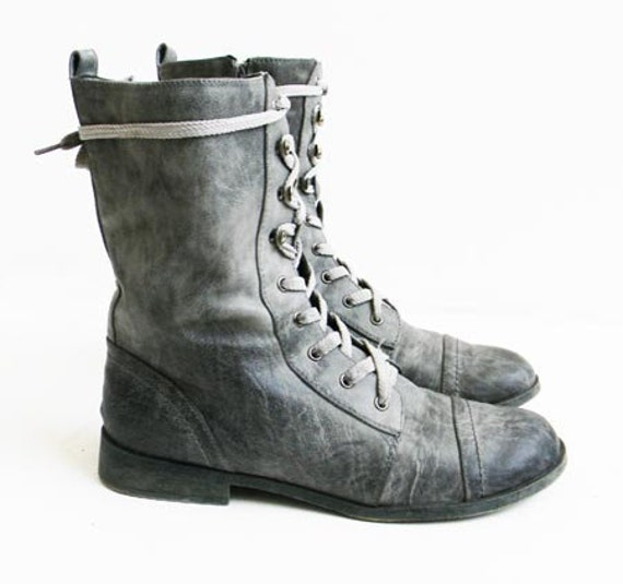 Awesome COmbat Laced BootsSmokey GreyLisitng Is For One By Babies2Ladies