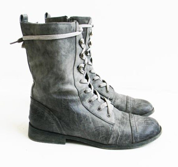 Vintage Distressed Gray Combat Boots UK Brand by alchemievintage